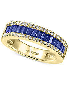 EFFY® Royalé Bleu Sapphire (1 ct. t.w.) and Diamond (1/5 ct. t.w.) Ring in 14k Gold, Created for Macy's