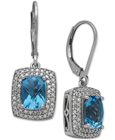 Swiss Blue Topaz (3-1/8 ct. t.w.) and Diamond (1/3 ct. t.w.) Drop Earrings in Sterling Silver