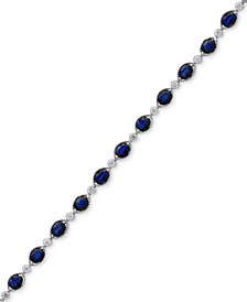 Royalé Bleu by EFFY® Sapphire (8-1/8 ct. t.w.) and Diamond (1/3 ct. t.w.) Link Bracelet in 14k White Gold, Created for Macy's