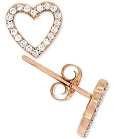 Diamond Heart Stud Earrings (1/5 ct. t.w.) in 14k Rose Gold