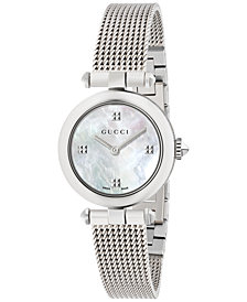 Gucci Women's Swiss Diamantissima Stainless Steel Mesh Bracelet Watch 27mm YA141504