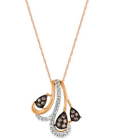 Le Vian Chocolatier® Diamond Pendant Necklace (1/5 ct. t.w.) in 14k Rose Gold