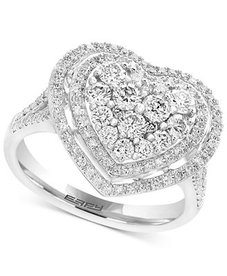 EFFY Pavé Classica Diamond Heart Ring 1 1 8 ct t w in 14k