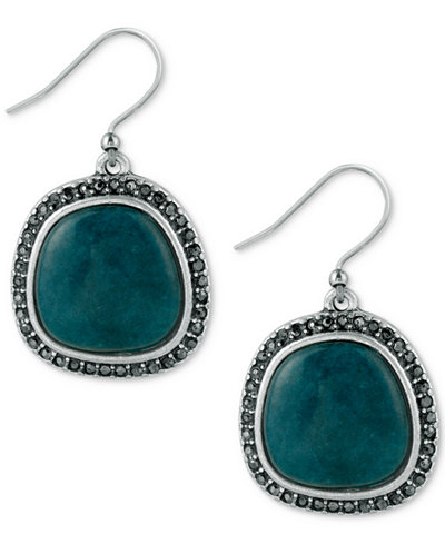 Lucky Brand Silver-Tone Black Pav� and Blue Stone Drop Earrings