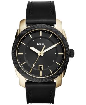 Fossil Men's Machine Black Leather Strap Watch 42mm FS5263
