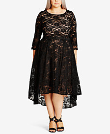 City Chic Trendy Plus Size Lace Midi Dress
