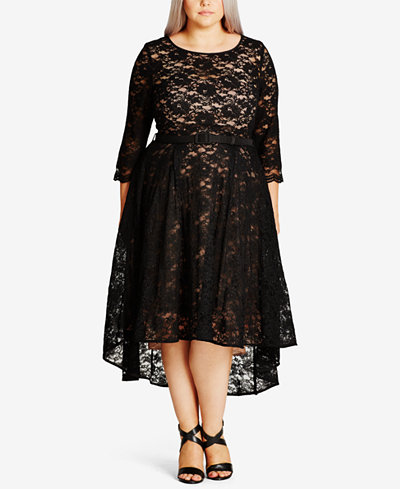 City Chic Trendy Plus Size Lace Midi Dress - Dresses ...