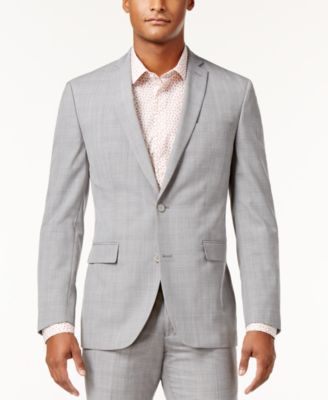 Men's Slim-Fit Light Gray Plaid Suit Jacket, Created for Macy's