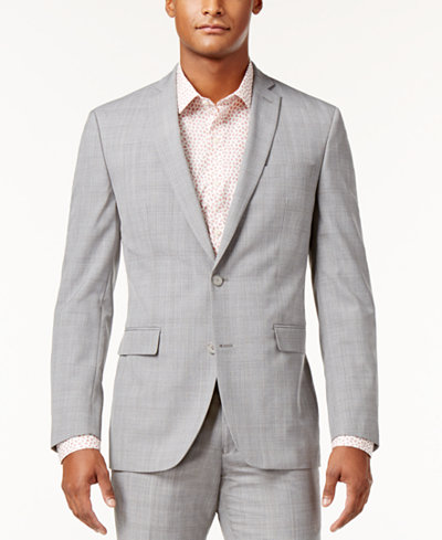 Bar III Men's Slim-Fit Light Gray Plaid Suit Jacket, Created for Macy's