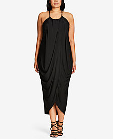 City Chic Trendy Plus Size Draped Maxi Dress