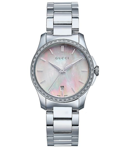 f0d75ea4174 Gucci Women s Swiss G-Timeless Diamond (1 4 ct. t.w.) Stainless ...