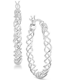 "Giani Bernini Medium Sterling Silver Spiral Hoop Earrings, 1.2"", Created for Macy's"