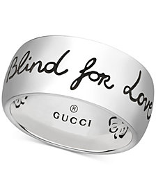 Gucci Women's Blind for Love Sterling Silver Engraved Ring YBC455248001