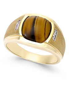 Men's Tiger Eye (10mm) and Diamond Accent Ring in 10k Gold
