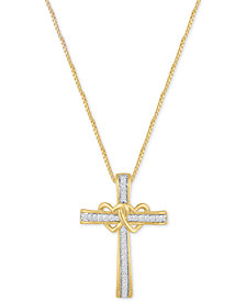 Diamond Double Heart Cross Pendant Necklace (1/10 ct. t.w.) in 14k Gold-Plated Sterling Silver