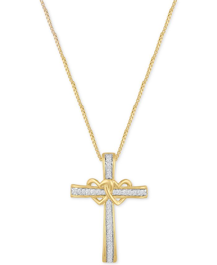 Macy's - Diamond Double Heart Cross Pendant Necklace (1/10 ct. t.w.) in 14k Gold-Plated Sterling Silver