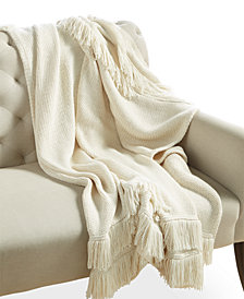 Whim by Martha Stewart  Collection Chalk White Fringe Throw, Created for Macy's