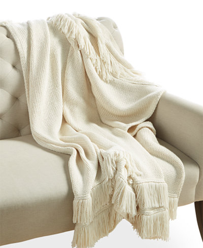 CLOSEOUT! Whim by Martha Stewart Collection Chalk White Fringe Throw, Created for Macy's
