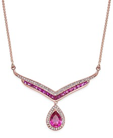 Certified Ruby (1-3/4 ct. t.w.) and Diamond (1/5 ct. t.w.) Necklace in 14k Rose Gold