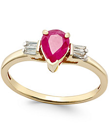 Ruby (3/4 ct. t.w.) and Diamond (1/8 ct. t.w.) Ring in 14k Gold