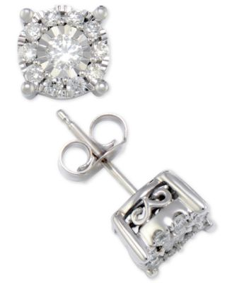 Diamond Halo Stud Earrings (1/2 ct. t.w.) in 14k White Gold, 14k Yellow Gold or 14k Rose Gold