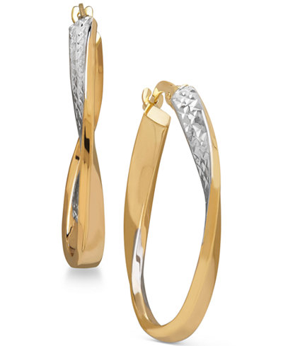 Two-Tone Twisted Hoop Earrings in 14k Gold with Rhodium-Plate