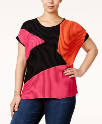 NY Collection Plus Size Pleated Colorblocked Top