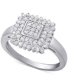 Diamond Square Ring (1/2 ct. t.w.) in Sterling Silver or 18k Gold-Plated Sterling Silver