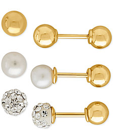 3-Pc Set Cultured Freshwater Pearl (4mm), Crystal Fireball and Gold Ball Front and Back Earrings in 14k Gold