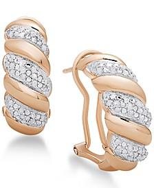 Diamond San Marco Hoop Earrings (1/4 ct. t.w.) in Sterling Silver, 18K Gold-Plated Sterling Silver or 18K Rose Gold-Plated Sterling Silver