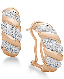 Diamond San Marco Hoop Earrings (1/4 ct. t.w.) in Sterling Silver, 18K Gold-Plated Sterling Silver or 18K Rose Gold-Plated Sterling Silver