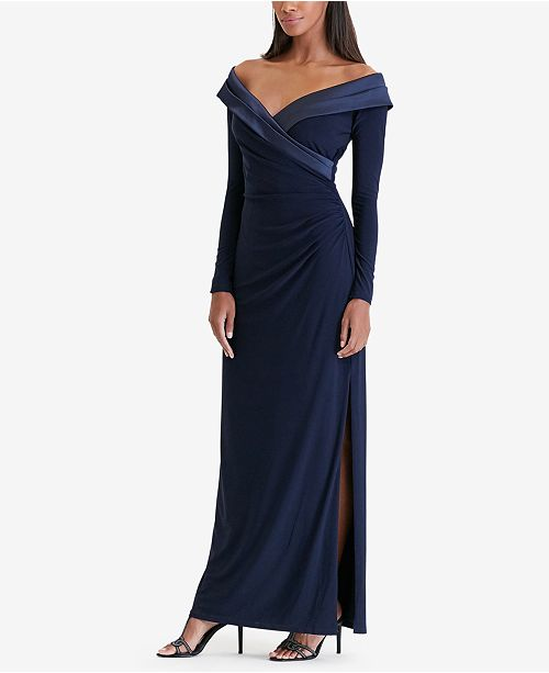 e52cb9e36af Lauren Ralph Lauren Satin-Trim Jersey Gown   Reviews - Dresses ...