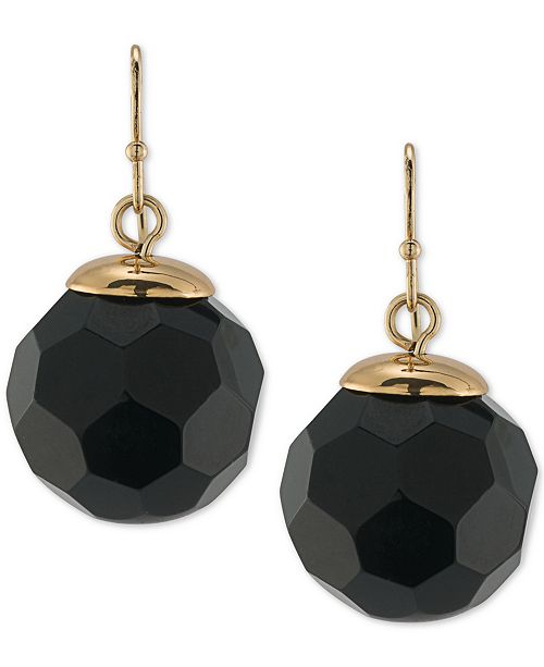 Trina Turk Gold-Tone Jet Faceted Round Bead Drop Earrings