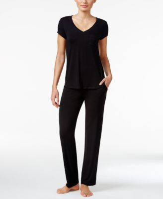 Chiffon-Trimmed Knit Pajama Top, Created for Macy's