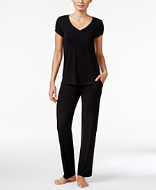 Alfani Chiffon-Trimmed Top & Pajama Pants Knit Sleep Separates, Created for Macy's