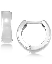 Polished Wide Hoop Earrings in 14k White Gold, Gold or Rose Gold
