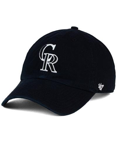 '47 Brand Colorado Rockies Black White Clean Up Cap
