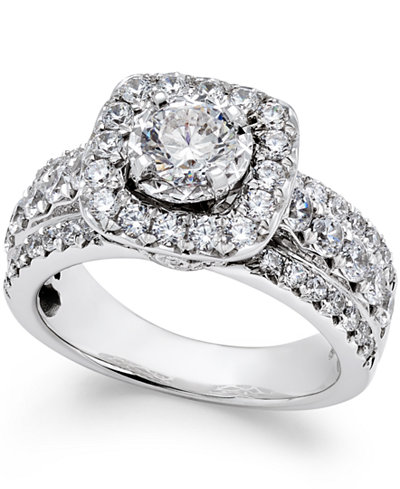 diamond halo engagement ring 2 ct tw in 14k white gold macys - Macys Wedding Rings