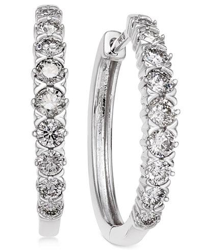 Diamond Hoop Earrings (1 ct. t.w.) in 14k White Gold