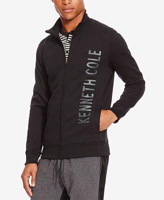 kenneth cole reaction mens fleece logo jacket sweaters