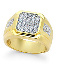 Men's Diamond Square Cluster Ring (1 ct. t.w.) in 10k Gold