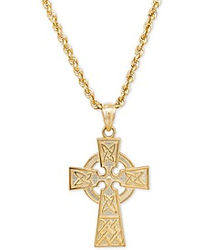 Celtic Cross Pendant Necklace in 14k Gold