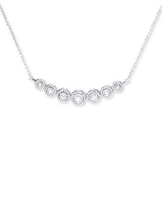 Diamond Miracle Plate Statement Necklace (1/2 Ct. T.W.) In Sterling  Silver by Macy's