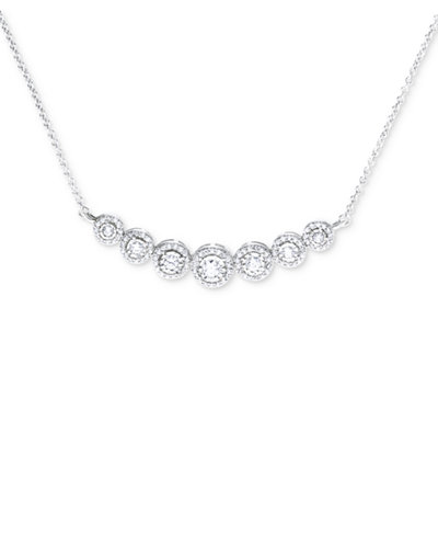 Diamond Miracle Plate Statement Necklace (1/2 ct. t.w.) in Sterling Silver
