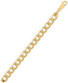 Italian Gold Men's Beveled Curb Link Chain Bracelet in 10k Gold