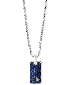 EFFY® Men's Sapphire Dog Tag Pendant Necklace (1-3/8 ct. t.w.) in Sterling Silver and 18k Gold
