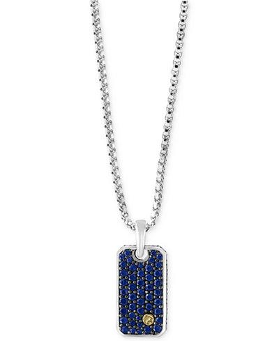 effy174 mens sapphire dog tag pendant necklace 138 ct t