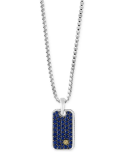 EFFY Collection EFFY® Men's Sapphire Dog Tag Pendant Necklace (1-3/8 ct. t.w.) in Sterling Silver and 18k Gold