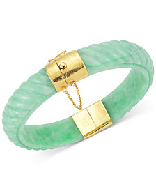 Dyed Jadeite Bangle Bracelet in 14k Gold over Sterling Silver in Green, Red or black
