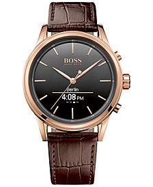 BOSS Hugo Boss Men's Smart Classic Brown Leather Strap Smart Watch 44mm 1513451